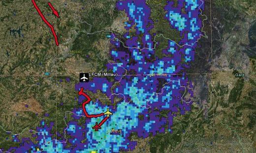 Image radar des précipitations à 17 h 35 et trajectoire du F-BKBZ
