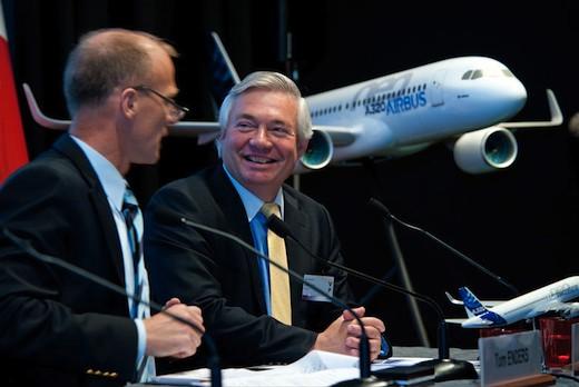 Thomas Enders et John Leahy, des dirigeants d'Airbus heureux…