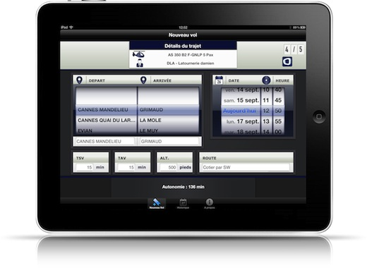 Onatys Airtech affirme qu'il faut moins d'une minute pour réaliser le plan de vol, qui est transmis automatiquement au serveur via le Wifi ou le réseau 3G.