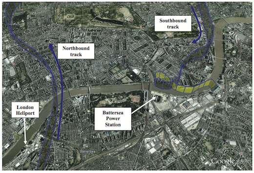 Trajectoire radar de l'A109 lors ses traversées aller (northbound) et retour (southbound) de Londres, jusqu'à l'accident près de Vauxhall Bridge.