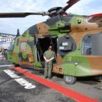 Un NH90 Caiman sur le stand du ministère de la Défense