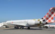 2. Le Boeing 717 de Volotea à son arrivée à Montpellier