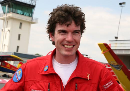 Hugues Duval, leader de la patrouille Tranchant, pilote le Fouga Magister depuis lâge de 18 ans