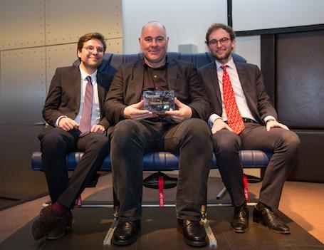 Antoine Ferretti, président-directeur général d'Air Méditerranée, entouré de Benjamin Saada (président) et Jean-Charles Samuelian (directeur général) d'Expliseat.