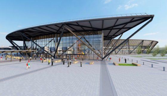 1. L'entrée du futur Terminal 1 de Lyon-Saint Exupéry