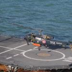 Une Alouette III de l'escadrille 22S pour l'entrainement aux appontages…
