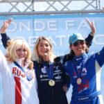 Le podium féminin du championnat du monde 2015 de voltige aérienne.