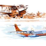 De Havilland DH-89 Dragon rapide a l'atterrissage à Hienghene, ATR 72-500 d'Air Calédonie
