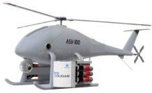 Le système MPL 30 d'Aero Surveillance permet de lancer différents types de charges (grenades à gaz lacrymogène, torches hygroscopiques, explosifs, etc) à partir du drone ASV-100 (ou ASV-150).