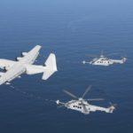 Ravitaillement simultané de deux Caracal sur un C-130J de l'Aeronautica Militare Italiana, au large de la côte aquitaine. Une capacité unique en Europe…