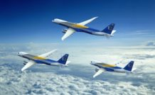 La famille E2 d'Embraer compte trois modèles couvrant le créneau des 70-130 sièges