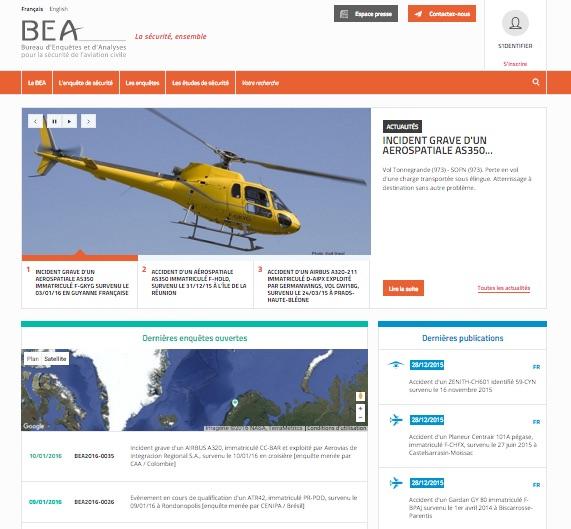 La page d'accueil du nouveau site internet du BEA