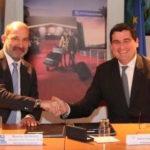 Maurice Georges à gauche, Directeur des services de la Navigation Aérienne et Dominique Thillaud à droite, Président du Directoire des Aéroports de la Côte d'Azur