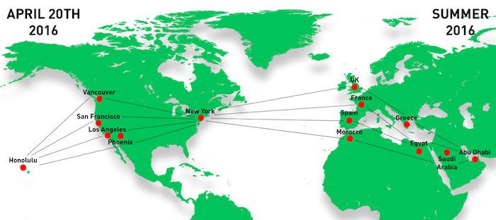 L'itinéraire envisaé par Solar Impulse pour boucler son tour du monde