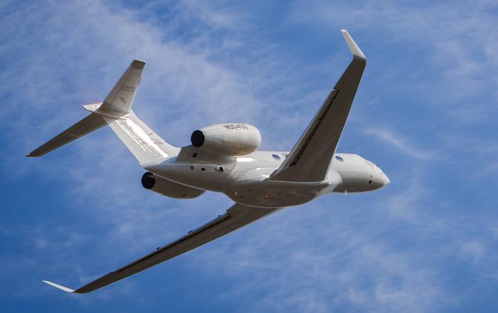 Le quatrième des cinq biréacteurs du programme d'essais en vol G500 de Gulfstream dans le ciel de Georgie (USA), le 20 février 2016.