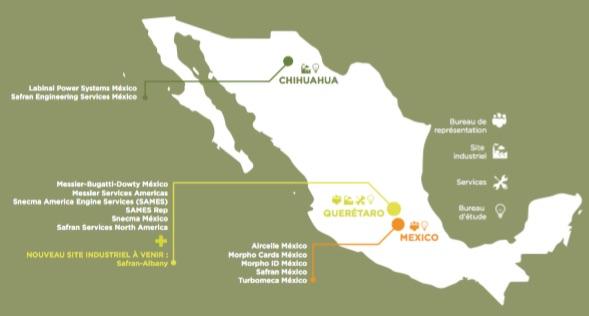 Dans ses 10 usines mexicaines, Safran emploie 6.000 salariés, ce qui fait du groupe français, le premier employeur de l'industrie aéronautique au Mexique