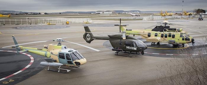 Les trois premiers appareils de la gamme « HForce » avec de gauche à droite le H125, le H145M et le H225M. Seul ce dernier est pour l'instant équipé d'un véritable système de mission.