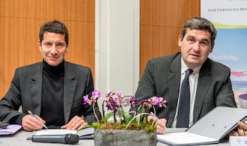 David Lisnard, Président du CRT Côte d'Azur, et Dominique Thillaud, Président du Directoire du Groupe Aéroports de la Côte d'Azur