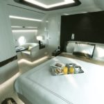 La chambre comprend un fauteuil club intégré à la structure de l'avion ainsi qu'une salle de bain attenante.