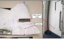 Le débris N°4 : élément de panneau intérieur comportant une charnière piano caractéristique