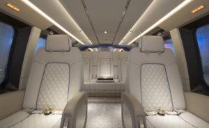 La vaste cabine du H175 a permis à Pegasus Design de signer un aménagement qui rappelle celui d'un jet privé