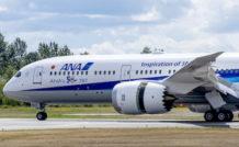 Ce cinquantième 787 aux couleurs d'ANA a été présenté au dernier salon aéronautique de Farnborough