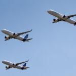 L'A320 MSN1 encadré pour son dernier vol par un A321neo et l'A320 dédié au programme Clean Sky