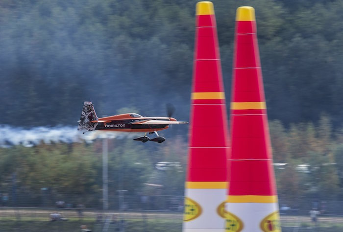 Nicolas Ivanoff of France performs during the qualifying at the sixth stage of the Red Bull Air Race World Championship at Eurospeedway in Lausitz, Germany on September 3, 2016. // Marc Müller/Red Bull Content Pool // P-20160903-01020 // Usage for editorial use only // Please go to www.redbullcontentpool.com for further information. //