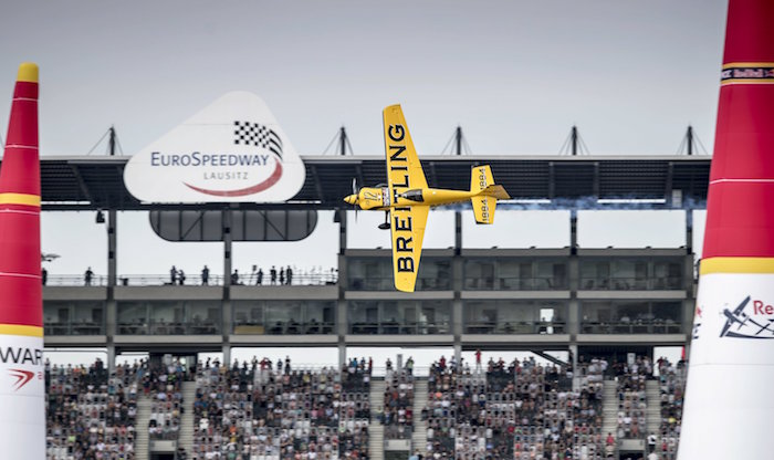 Francois Le Vot of France performs during the qualifying at the sixth stage of the Red Bull Air Race World Championship at Eurospeedway in Lausitz, Germany on September 3, 2016. // Andreas Schaad/Red Bull Content Pool // P-20160903-01392 // Usage for editorial use only // Please go to www.redbullcontentpool.com for further information. //