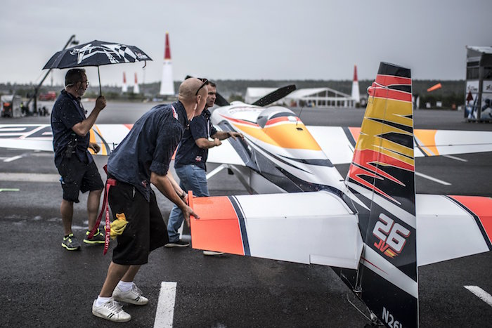 Team members of Juan Velarde of Spain work prior to the finals at the sixth stage of the Red Bull Air Race World Championship at Eurospeedway in Lausitz, Germany on September 4, 2016. // Predrag Vuckovic/Red Bull Content Pool // P-20160904-00914 // Usage for editorial use only // Please go to www.redbullcontentpool.com for further information. //