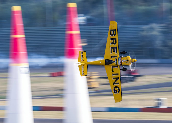Francois Le Vot of France performs during a free practice at the sixth stage of the Red Bull Air Race World Championship at Eurospeedway in Lausitz, Germany on September 2, 2016. // Andreas Schaad/Red Bull Content Pool // P-20160902-13358 // Usage for editorial use only // Please go to www.redbullcontentpool.com for further information. //
